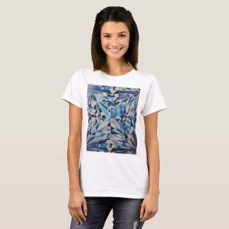 Camiseta Arte de vidro do diamante das mulheres pelo