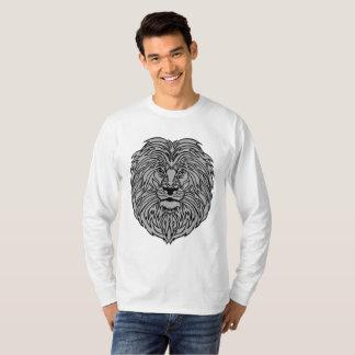 Camiseta Arte do leão no t-shirt do branco da Longo-luva