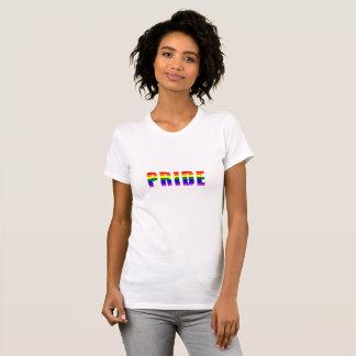 Camiseta Arte do texto do orgulho do arco-íris em todas as