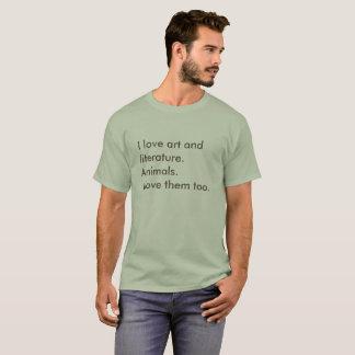 Camiseta arte e literatura. animais