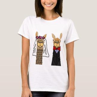 Camiseta Arte engraçada do casamento dos noivos do lama