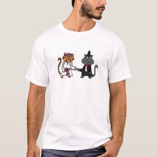 Camiseta Arte engraçada do casamento dos noivos dos gatos