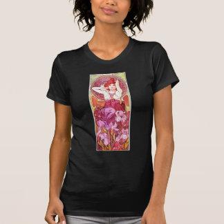 Camiseta Arte floral Amethyst Nouveau do vintage de