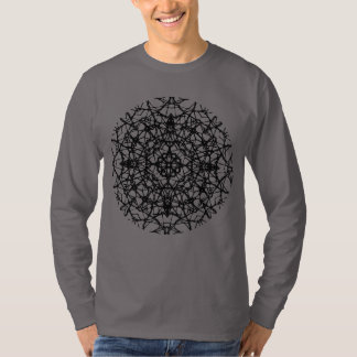 Camiseta Arte floral preta boémia da mandala