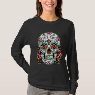 Camiseta Arte florido colorida do tatuagem do crânio