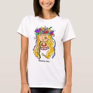 Camiseta Arte popular ucraniana do ucraniano da diva