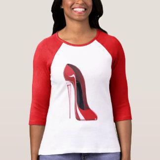 Camiseta Arte vermelha dos calçados do estilete do salto de