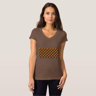 Camiseta Artesanato Colorey/V-Pescoço do jérsei Bella das