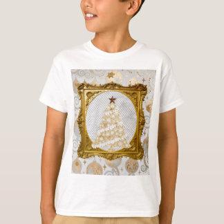 Camiseta Árvore bonita do laço e do floco de neve quadro no