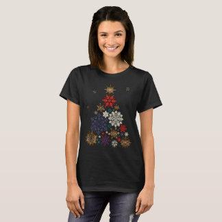 Camiseta Árvore colorida do floco de neve do Feliz Natal
