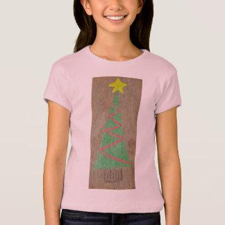 Camiseta Árvore de Natal cor-de-rosa