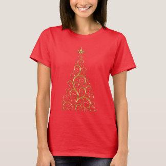 Camiseta Árvore de Natal festiva do ouro do Flourish