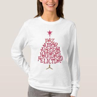 Camiseta Árvore de Natal tipográfica espanhola