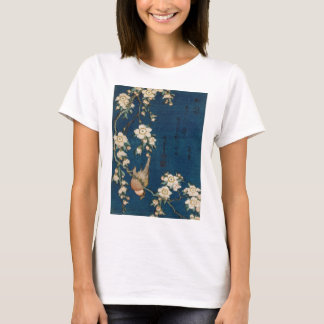 Camiseta Árvore do Goldfinch e de cereja do 葛飾北斎 de