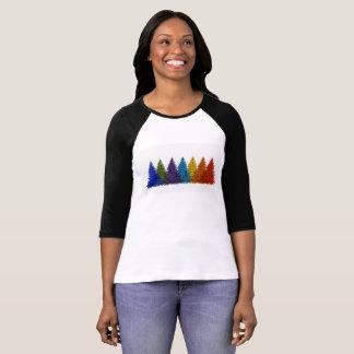 Camiseta Árvores de Natal do arco-íris 3/4 de parte