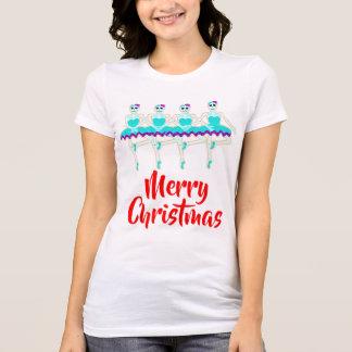 Camiseta as bailarinas de esqueleto do Natal dançam o