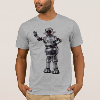 Camiseta As cinzas retros do robô do vintage couberam semi