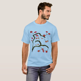 Camiseta As flores de cerejeira vermelhas no azul mais