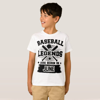 Camiseta as legendas do basebol são nascidas em junho