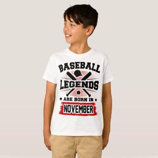 Camiseta as legendas do basebol são nascidas em novembro