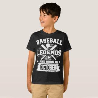 Camiseta as legendas do basebol são nascidas em outubro