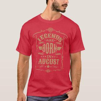 Camiseta As legendas são nascidas em agosto (o texto pálido