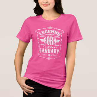 Camiseta As legendas são nascidas em janeiro (o texto