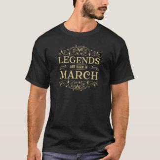 Camiseta as legendas são nascidas em março