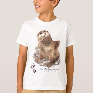 Camiseta As lontras deixaram pegadas em meu coração, animal