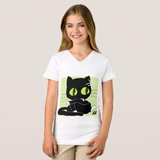 Camiseta As meninas multam o preto do gato do t-shirt do