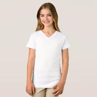 Camiseta As meninas multam o t-shirt do V-Pescoço do jérsei