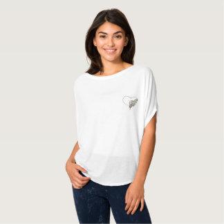 Camiseta As mulheres abrem o t-shirt branco de Flowy do