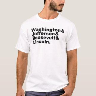 Camiseta As quatro caras da ascendência do Monte Rushmore