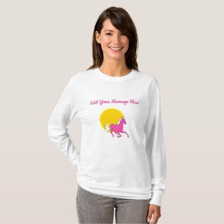 Camiseta As senhoras amarelas e cor-de-rosa do cavalo