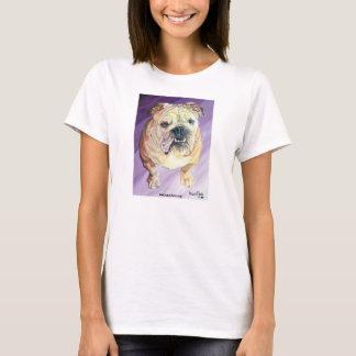 Camiseta As senhoras brancas do retrato do óleo do buldogue
