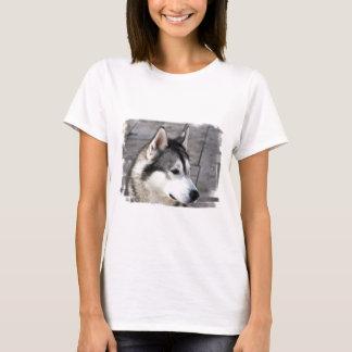 Camiseta As senhoras da foto do Malamute couberam o t-shirt