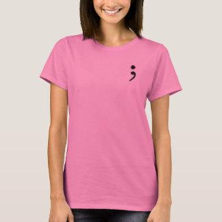 Camiseta As senhoras Short o t-shirt do SemiColon da luva