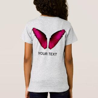 Camiseta asas cor-de-rosa da borboleta