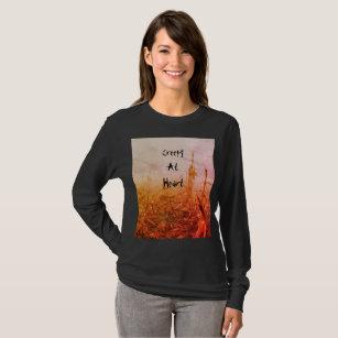 Camiseta Assustador no longo da mulher do coração Sleeved