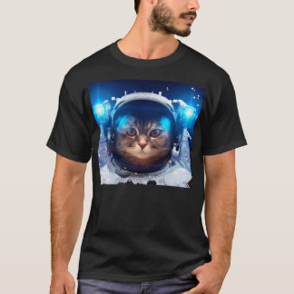 Camiseta Astronauta do gato - gatos no espaço - espaço do