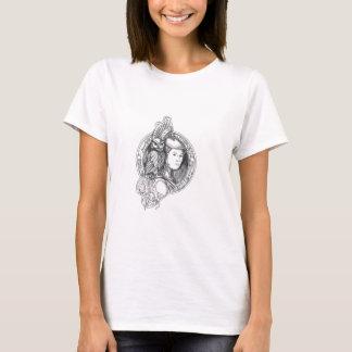 Camiseta Athena com a coruja no Cir do circuito eletrônico