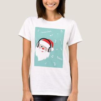 Camiseta Auscultadores de w do Natal-Papai noel
