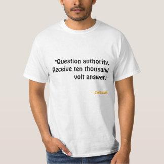 Camiseta Autoridade da pergunta. Receba a resposta