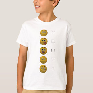 Camiseta avaliação do Emoticon do estilo 3d