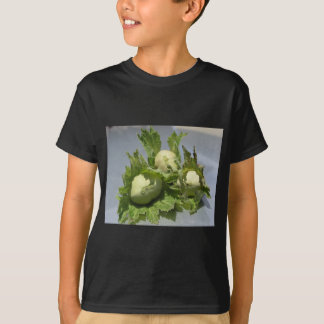 Camiseta Avelã verdes frescas no fundo de brilho