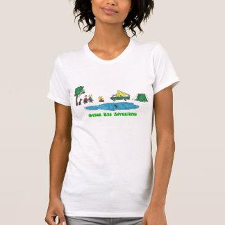 Camiseta Aventuras verdes do ônibus - acampe prolongando