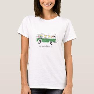 Camiseta Aventuras verdes do ônibus - desenho verde do