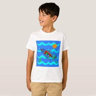 Camiseta Avião colorido lunático dos peixes