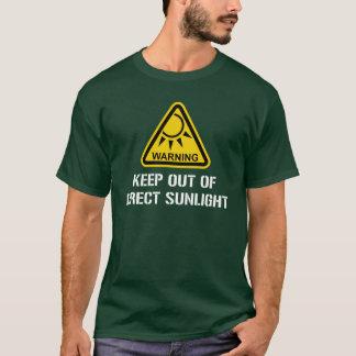 Camiseta AVISO - mantenha fora da luz solar direta