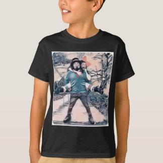 Camiseta Azeitona e Dingo nas escadas congeladas
